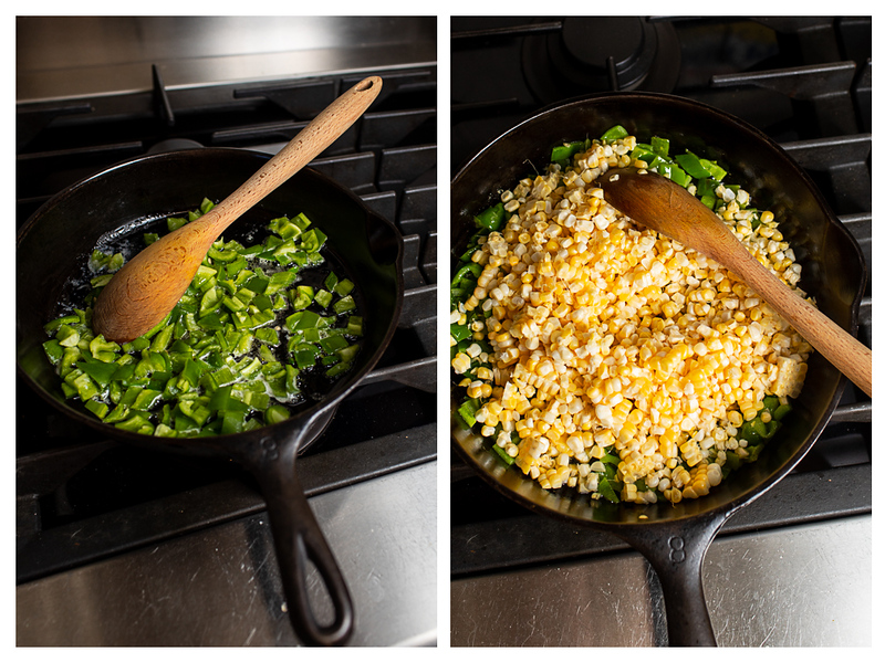 Photo collage showing green bell peppers and corn in a cast iron skillet.