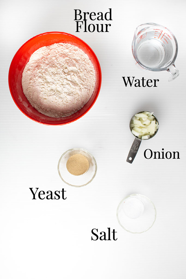 Bread flour, water, yeast, onion and salt.