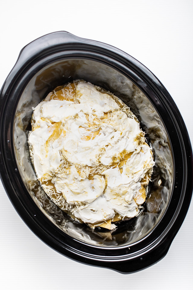 Slow cooker casserole with sour cream on top.