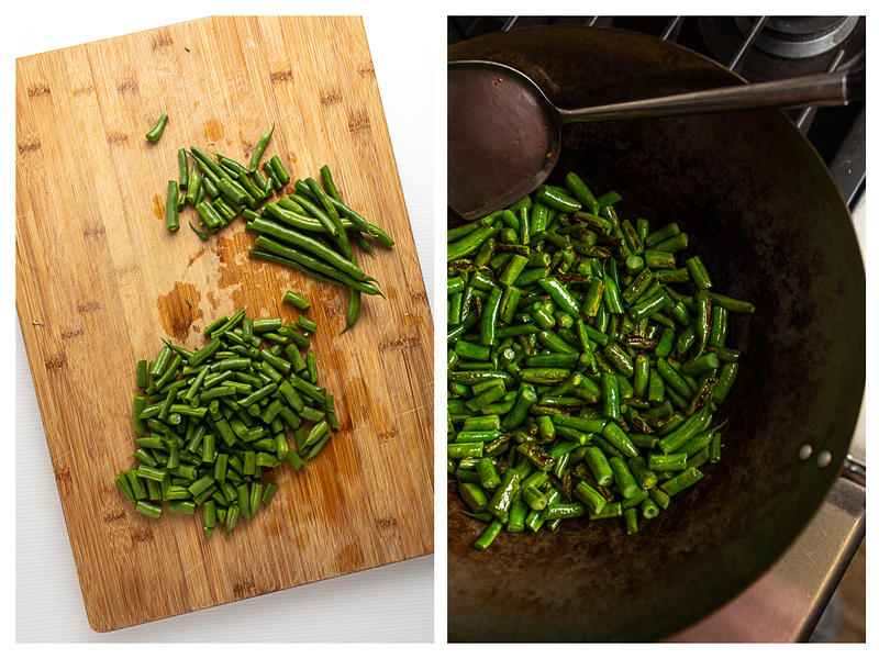 Photo showing green beans being chopped and then charred in a wok.