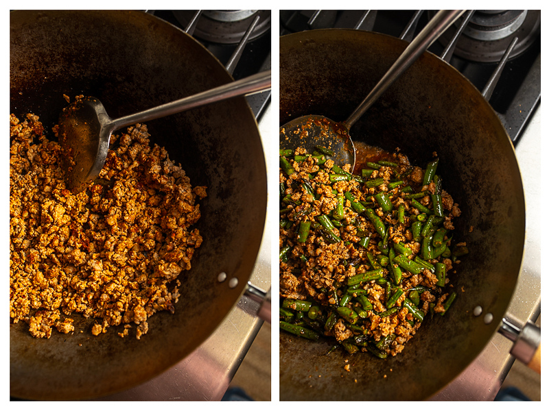 Photo collage showing pork browned in a wok and then with green beans.