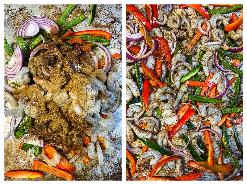 Photo collage showing shrimp and vegetables tossed with spices and then roasted.