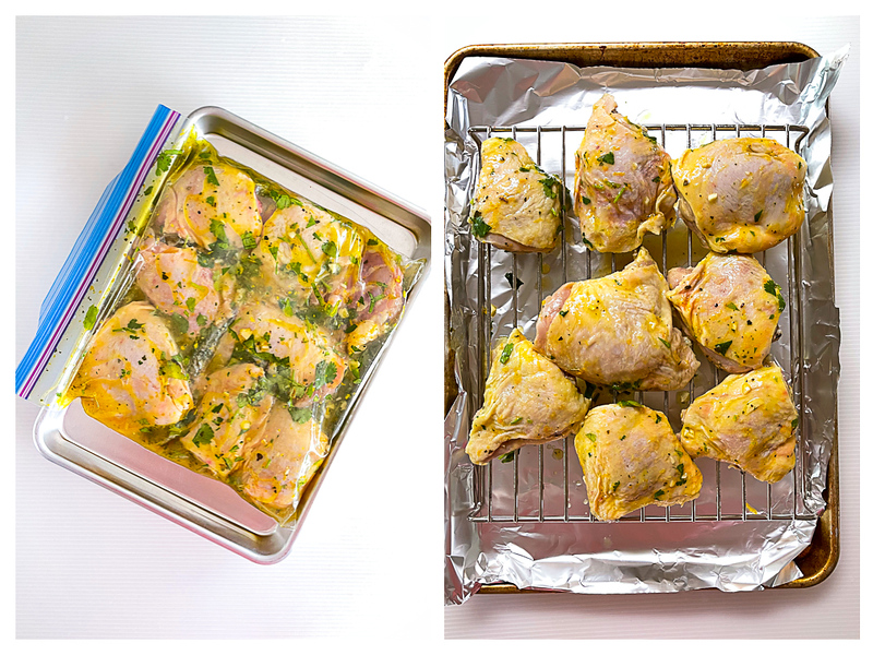 Photo collage showing chicken thighs being marinated and then air drying on a rack.