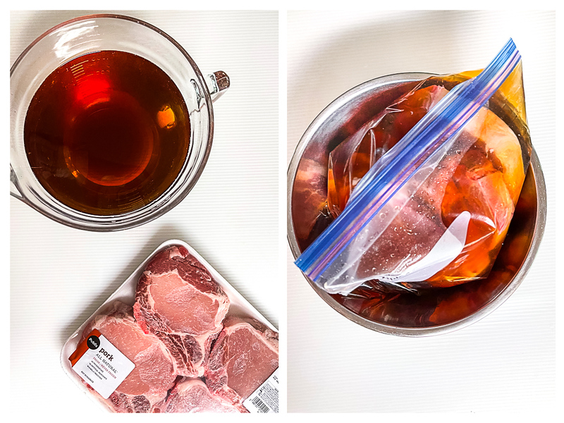 Photo collage showing pork chops and brine and then in a resealable bag.