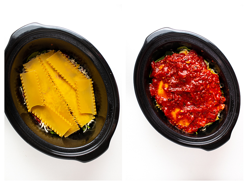 Photo collage showing lasagna noodles topped with sauce.