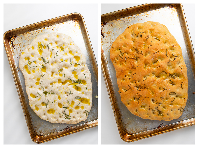 Photo collage showing bread dimpled with olive oil and then what it looks like when it comes out of the oven.