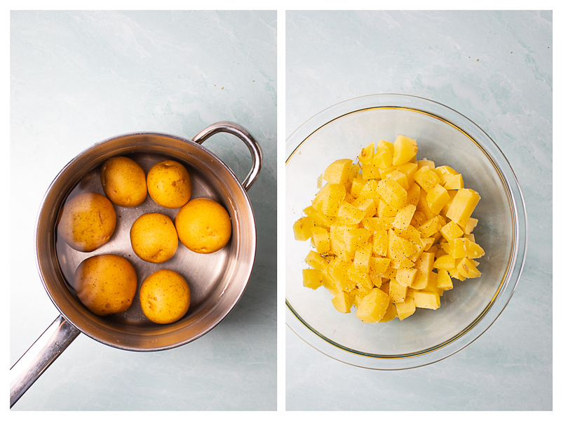 Photo collage showing potatoes in a pan of water and then peeled and diced.