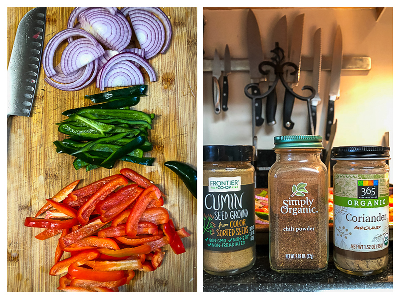 Photo collage showing peppers and onions sliced, and spices.