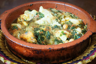Fish tangine with spinach and chickpeas. It was excellent.