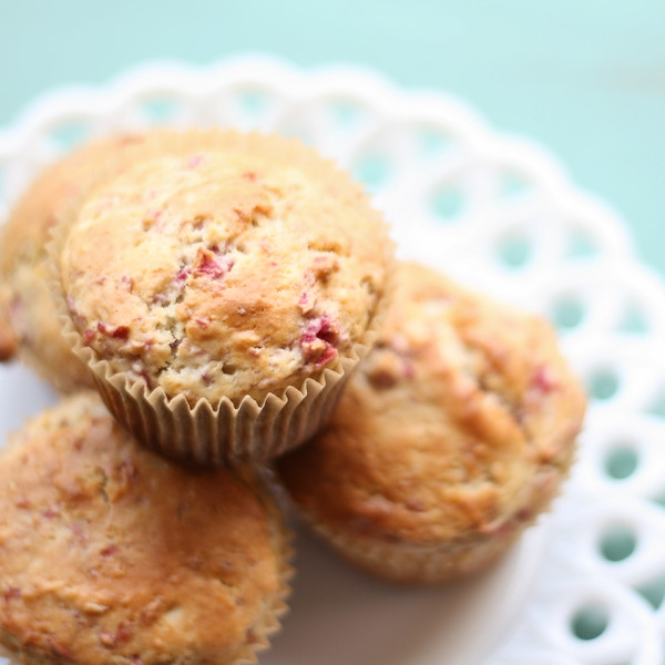 Plate of cranberry muffins on a white plate.