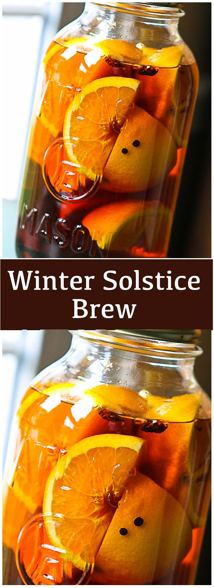 two photos of infused brandy with text reading Winter Solstice Brew.