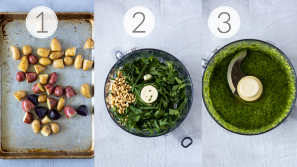 Photo collage showing the three steps to making roasted fingerling potatoes and the chive pesto.