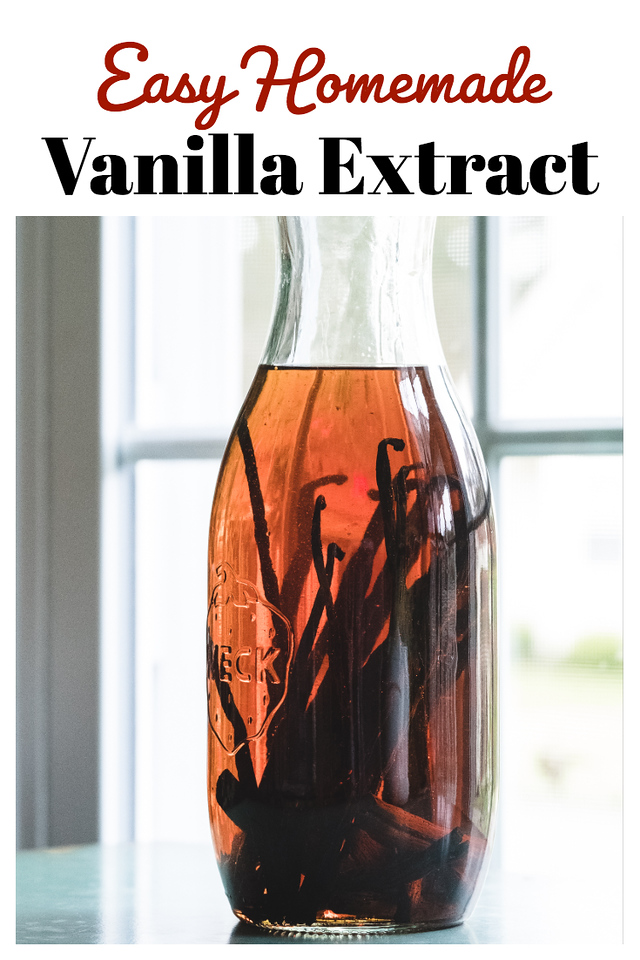 Bottle of brown liquid filled with vanilla beans and text reading Easy Homemade Vanilla Extract