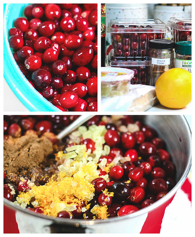 Collage of photos on how to make homemade cranberry sauce.