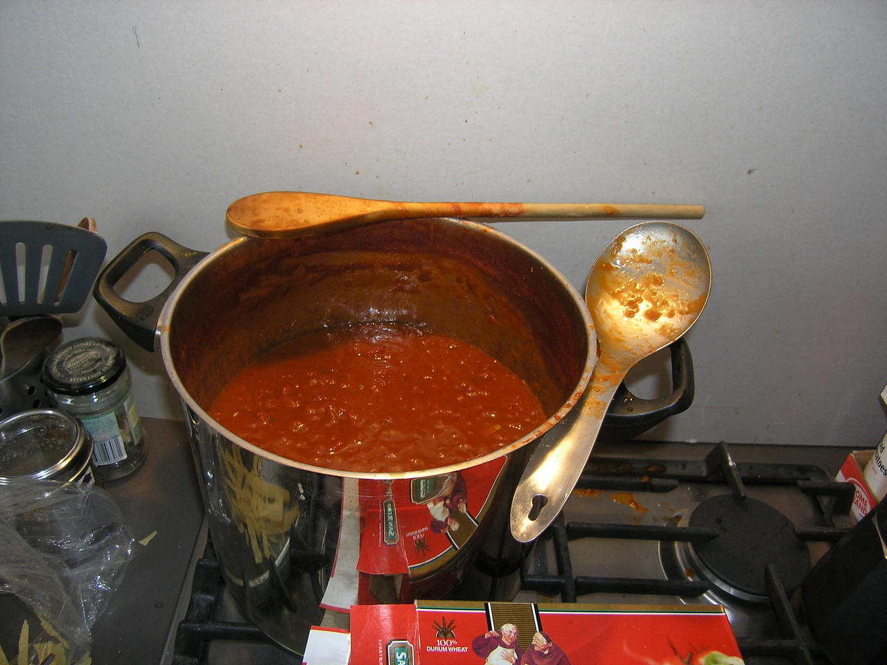 Giant pot of pasta sauce