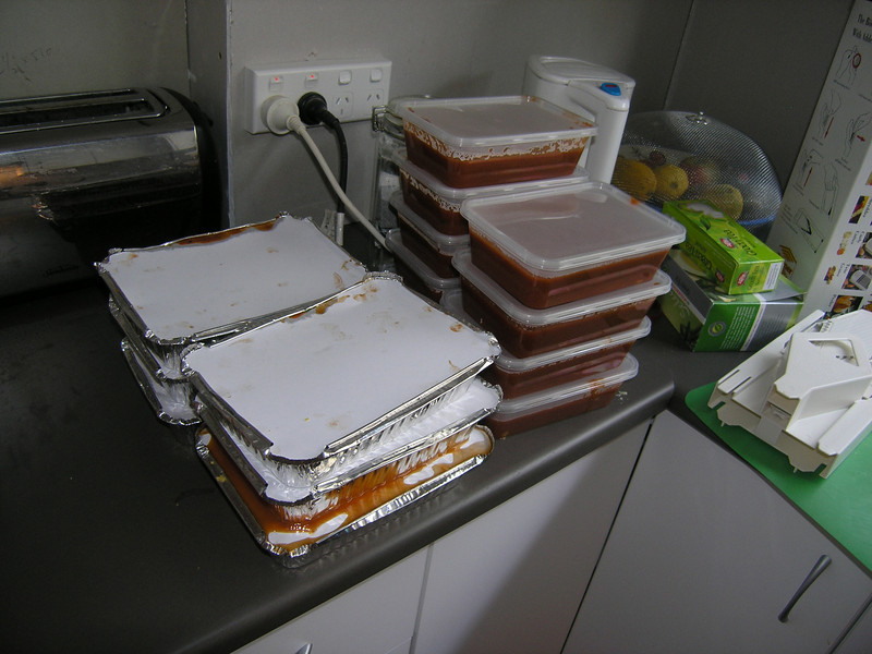 6 lasagnes, 9 pasta sauces for the freezer to keep us in good food with new baby.