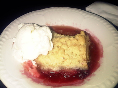 """Apple & Blackberry Crumble -  with hot with custard.  Served in """"The Griffin"""" in Carlisle  03/12/12"""