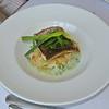 Gebakken Maigre filet met risotto van tomaat, gekonfijte selder en dragonsaus