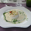 """""""Combinatie van zeetong en streekasperges met kervelpluksels in cappuccino van Amontillado sherry""""<br /> (Paas-menu 2009)"""