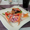 """""""Zongerijpte Cavaillon meloen met kreeft, krab en langoustines vergezeld van jonge rode bietjes salade""""<br /> (Lunch-menu 2009-08-13)"""
