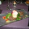 """""""Krokantje van roze diepzee krab omringd door gekonfijte eend gekruid met Piment d'Espelette""""<br /> (Sylvester-menu)"""