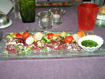 """Meritus rundscarpaccio met chermoula van tuinkruiden in Oosterse dressing""  (Lunch-menu 2009-08-14)"
