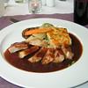 """De keuze menu vlees of vis: <br /> """"Rugmedaillons van Ibrico varkentje met zoetzuur rabarbersausje en aardappeltortilla""""<br /> (Lunch-menu 2009-08-13)"""