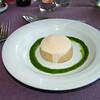 """""""Warm bavarois taartje van Gandaham en eend met schuimpje van Ras el hanout""""<br /> (Markt-menu 2009-08-13)"""
