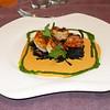 """""""Zoetwater black tiger scampi staartjes op pasta negra met Amontillado sherry sausje""""<br /> (Markt-menu 2009-08-14)"""