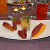 """""""Cavaillon meloen op zijn best"""": chutney, smoothie en salade met op zwarte peper gerookte eendenmagret<br /> (Markt-menu 2009-08-14)"""