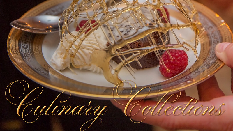 A collection of images of restaurants, kitchen action, banquet styling, and sweet confections by chefs, caterers, and event designers.