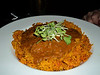"Lamb Curry - spiced basmati rice, cilantro lime sour cream. C$18.49.  Served in ""Crossings"" in London, Ontario  29/01/14"