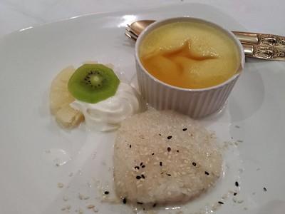 "Steamed egg custard served with sticky rice. £4.25. Served in ""Montein"" in Bridport  24/03/15"