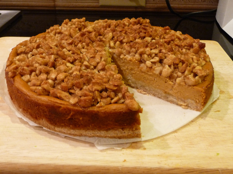 """<h1>Pumpkin Cheesecake</h1> This is just out-of-this-world FABULOUS!!  It is one of the recipes in <b><u><a href=""""http://www.amazon.com/gp/product/B005VSID1E/ref=as_li_ss_tl?ie=UTF8&tag=mayoowbr-20&linkCode=as2&camp=217145&creative=399373&creativeASIN=B005VSID1E"""" rel=""""nofollow"""">Vegan Pie in the Sky</a></u></b> by Isa Chandra Moskowitz and Terry Hope Romero.  Highlighted in <b><u><a href=""""http://well.blogs.nytimes.com/2011/11/11/can-you-bake-a-vegan-pie/?scp=1&sq=vegan pie&st=cse"""">The New York Times</a></u></b> (recipe is shared there).  Recipe calls for a graham cracker crust, but since hubby is GF, I went with the crust <b><u><a href=""""http://www.dietdessertndogs.com/2011/09/16/separated-at-birth-apricot-swirl-cheesecake-bars-baked/"""">in this recipe</a></u></b> (although I didn't bother with the liquid stevia and coconut sugar, neither of which I could find.  I eliminated both of those, and instead used 1/2 cup granulated sugar), and it was the perfect pairing for this cheesecake.  Crunchy, sweet, and delicious."""