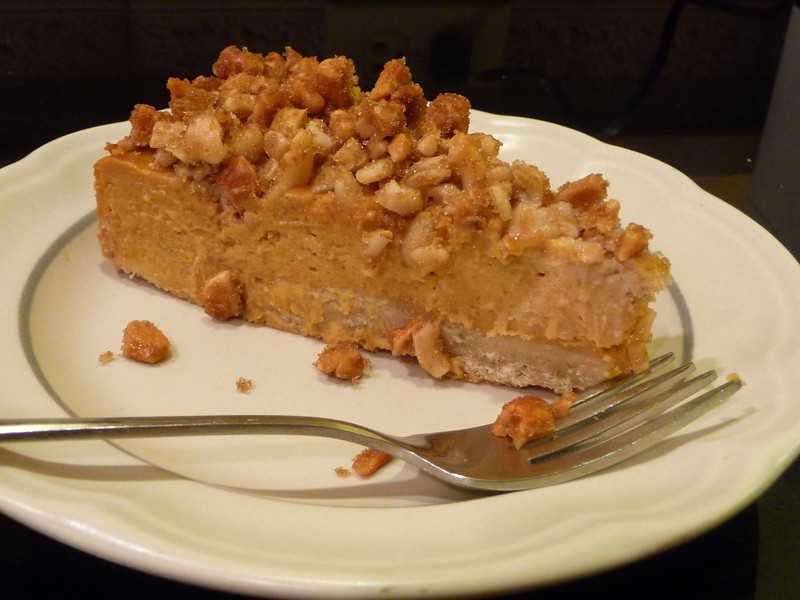 "<h1>Pumpkin Cheesecake</h1> This is just out-of-this-world FABULOUS!!  It is one of the recipes in <b><u><a href=""http://www.amazon.com/gp/product/B005VSID1E/ref=as_li_ss_tl?ie=UTF8&tag=mayoowbr-20&linkCode=as2&camp=217145&creative=399373&creativeASIN=B005VSID1E"" rel=""nofollow"">Vegan Pie in the Sky</a></u></b> by Isa Chandra Moskowitz and Terry Hope Romero.  Highlighted in <b><u><a href=""http://well.blogs.nytimes.com/2011/11/11/can-you-bake-a-vegan-pie/?scp=1&sq=vegan pie&st=cse"">The New York Times</a></u></b> (recipe is shared there).  Recipe calls for a graham cracker crust, but since hubby is GF, I went with the crust <b><u><a href=""http://www.dietdessertndogs.com/2011/09/16/separated-at-birth-apricot-swirl-cheesecake-bars-baked/"">in this recipe</a></u></b> (although I didn't bother with the liquid stevia and coconut sugar, neither of which I could find.  I eliminated both of those, and instead used 1/2 cup granulated sugar), and it was the perfect pairing for this cheesecake.  Crunchy, sweet, and delicious."