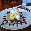 Deep Fried Green Tea Ice Cream with Whipped Cream and chocolate sauce