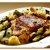 Tuesday Almond Crusted Salmon, Roasted Vegetables & Sprouts