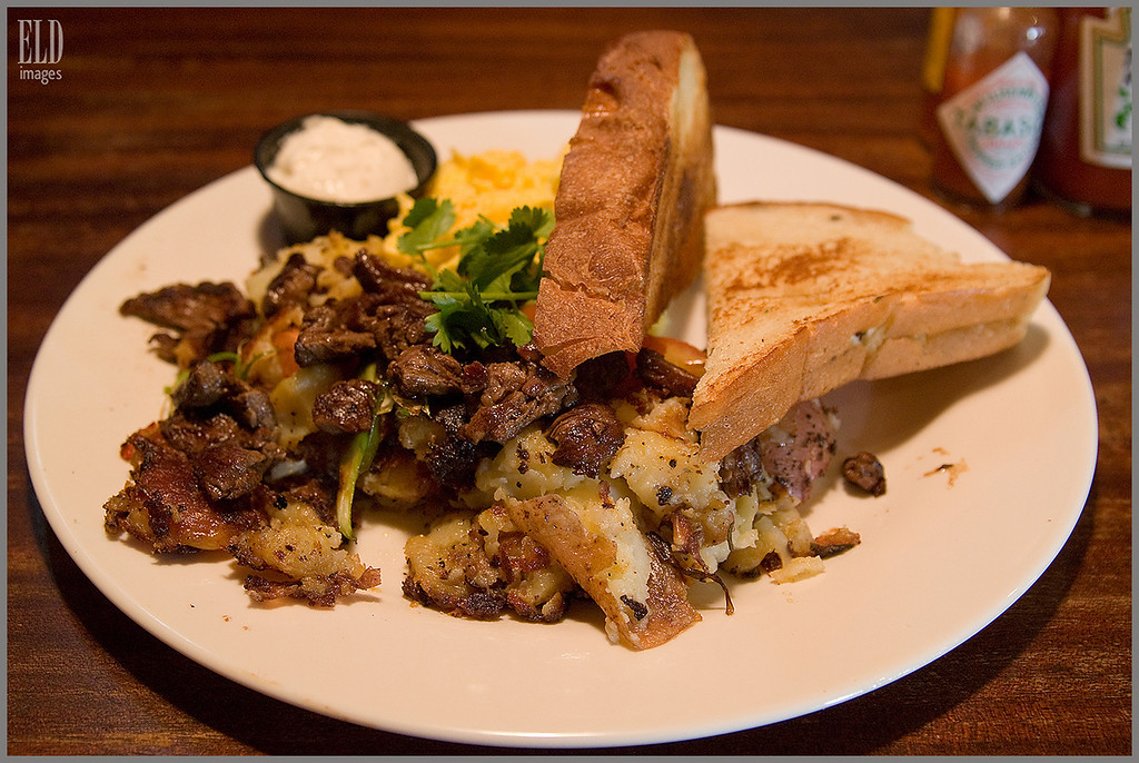Roast Beef Hash with Scrambled Eggs and Potatoes - The Mission SoMa