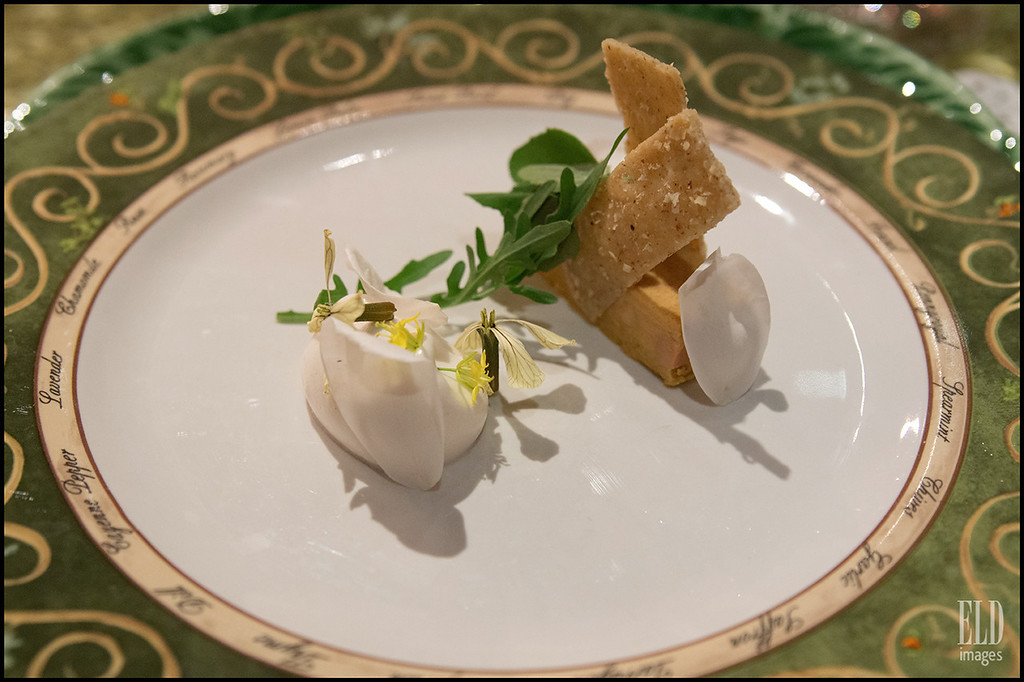 Coming Up Roses - THe Herbfarm<br /> Duck Foie Gras, Honey & Cecil Brunner Rose Meringue, Hazelnut Cracker...