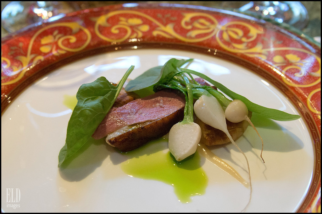 Rotisserie Duck - The Herbfarm<br /> Muscovy Duck, Roasted Puree of New Garlic, Baby Turnips, Boletus Mushrooms...