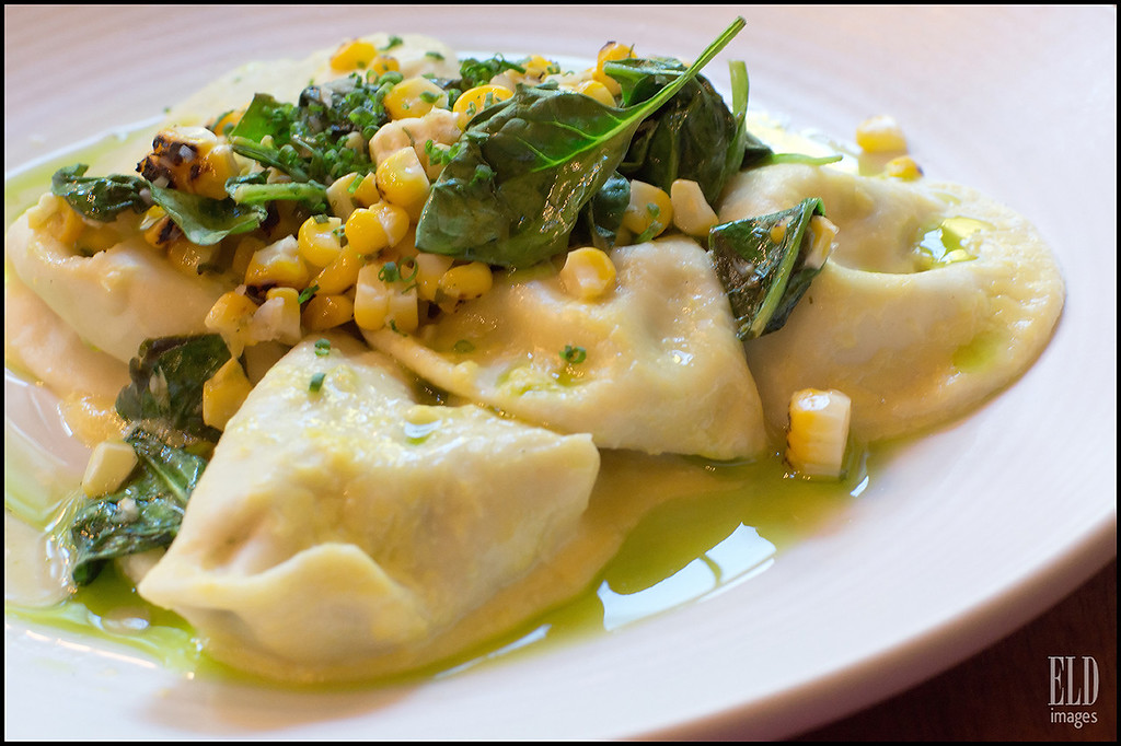Dungeness Crab Ravioli - Agrodolce<br /> Sweet corn, basil and spinach...