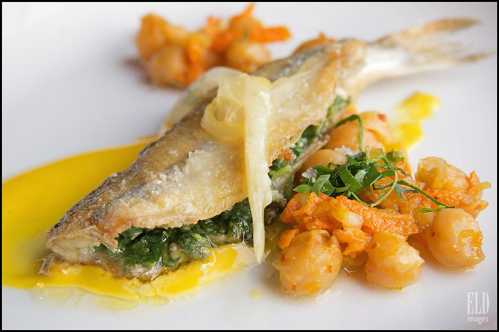 """Secret Nosh"" - Art of the Table<br /> Chickpeas, pickled lemon, curry aioli, pesto-stuffed smelt..."