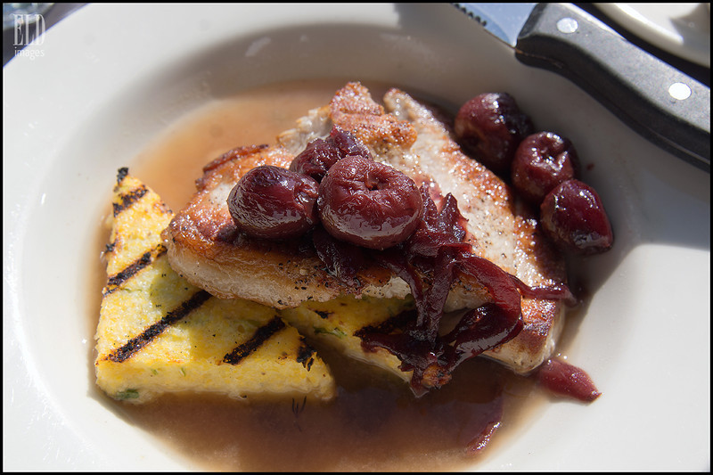Pork Loin - Cafe Presse<br /> Cheese-green onion polenta, bing cherry-sweet onion confiture...