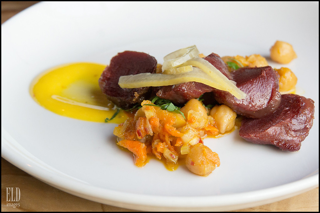 """Secret Nosh"" (Alternate Take) - Art of the Table<br /> Chickpeas, pickled lemon, curry aioli, duck liver confit..."
