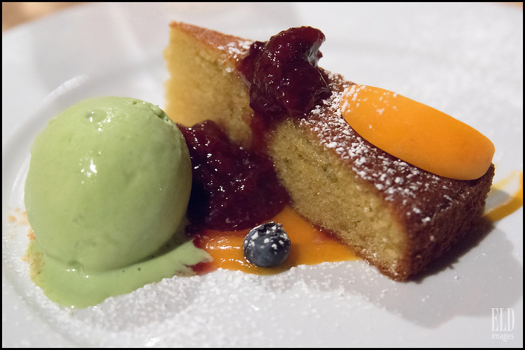 """A Happy Ending"" - Art of the Table<br /> Olive oil cake, orange-apricot sauce, cherry compote, blueberries, basil ice cream..."