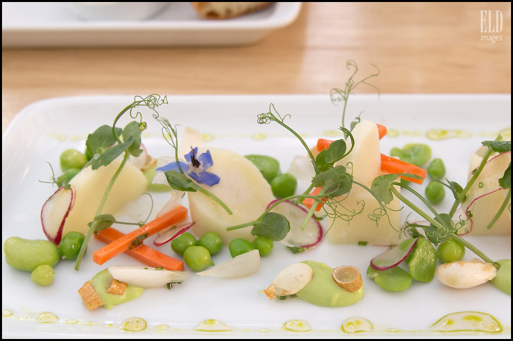 Hearts of Palm Salad- The Book Bindery<br /> Spring Vegetables, Green Almonds, Chive Aigre-Doux