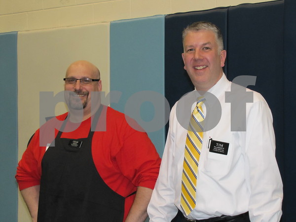 Chad Johnson and Tim Flaherty of Hy-Vee offered a light meal to attendees before the cooking school.