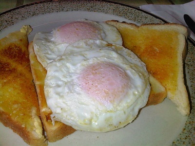 """Fried Eggs on Toast. £2.95. Served in the """"Signalbox Cafe"""" in Totnes 08/01/12"""