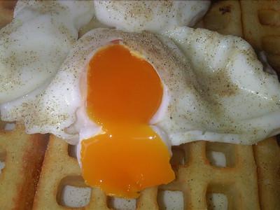 Poached Eggs on potato waffles  28/09/12