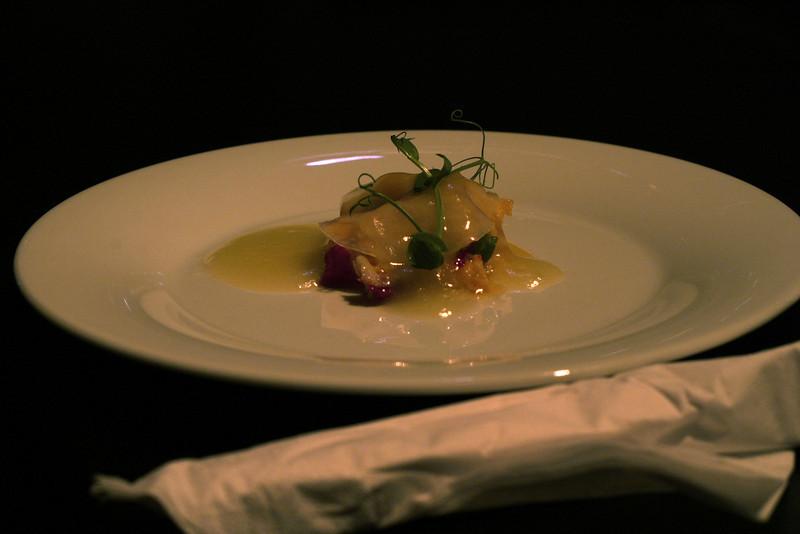 Lobster with lemon vinaigrette and fresh sliced ginger